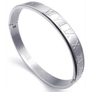 Roman numerals bangles in silver or gold